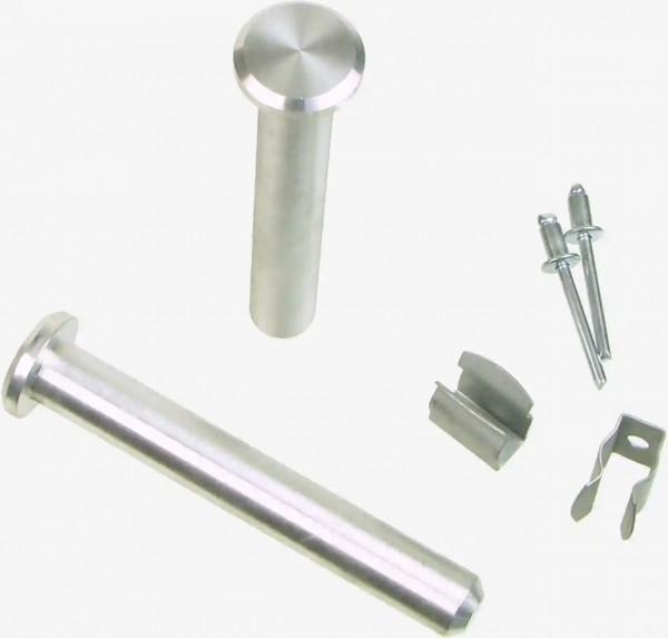 Abbildung zeigt das Bolzenbefestigungs-Set: 2 Bolzen + Federclips sowie die benötigten Blindnieten zur Befestigung der Clips